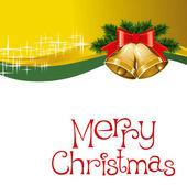 Рождественская открытка с колоколами с елкой — Cтоковый вектор