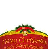Cartão de Natal com sinos com árvore de Natal — Vetor de Stock