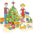 Stock Vector: Happy family dressing up the christmas tree isolated