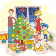 Vector de stock : Happy family dressing up the christmas tree