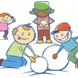 Kids making a snow man isolated — Stock Vector #7917405