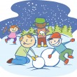 Kids making a snow man isolated — Stock Vector