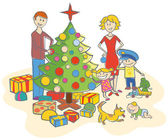 Happy family dressing up the christmas tree isolated — Vettoriale Stock