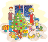 Happy family dressing up the christmas tree — Stock Vector