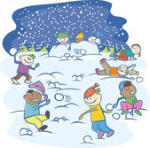 Kids playing snowballs isolated — Stock Vector