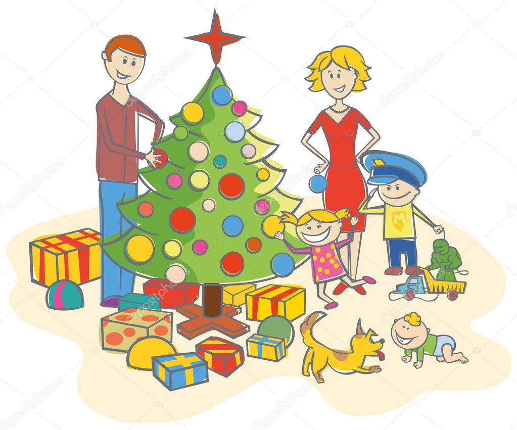 Vector happy family mother, father, boy, girl, baby boy and dog dressing up the christmas tree isolated on white background — Stock Vector #7917400