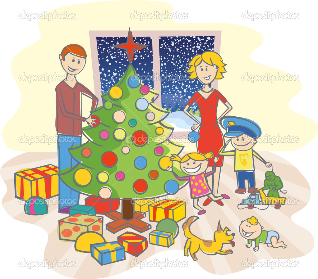 Vector happy family mother, father, boy, girl, baby boy and dog dressing up the christmas tree — Stockvektor #7917403