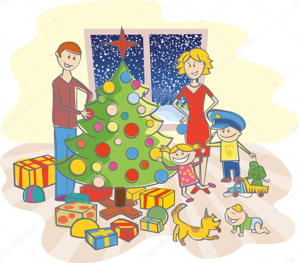 Vector happy family mother, father, boy, girl, baby boy and dog dressing up the christmas tree — Imagen vectorial #7917403
