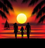 Rodziny na zachód słońca — Wektor stockowy