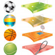 Football, basketball, volleyball, tennis field and stadium — Stock Vector #7232774