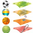 Football, basketball, volleyball, tennis field and stadium - Stock Vector