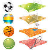 Football, basketball, volleyball, tennis field and stadium — Stock Vector