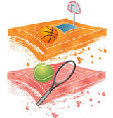 Basketball field and tennis field — Stock Vector