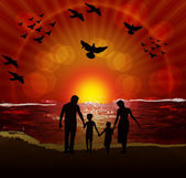 Family on sunset — Stock Vector