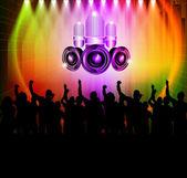 Dj and dancing — Stock Vector