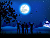 Christmas night — Stock Vector