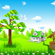 Royalty-Free Stock Vector Image: House and nature