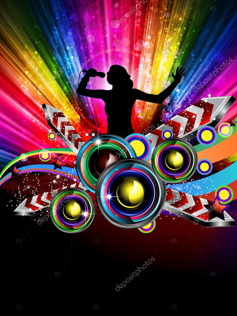 Disco Dance Tropical Music Flyer with colorful background — Stock Vector #7906639