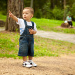 Active little boy in park — Stock Photo