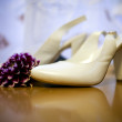 Photo of white shoes and flowers — Stock Photo #7329872