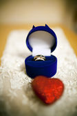Wedding rings in the jewelry box — Stock Photo