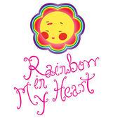 Ace Rainbow In My Heart — Stock Vector