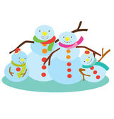 Snow Man Family — Stock Vector
