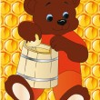 Vector de stock : Bear with honey