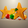 Christmas Stars with decorating balls | Editable EPS. 10 vector - Stock Vector