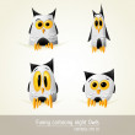 Funny Cartooned night owls — Stock Vector #7915051