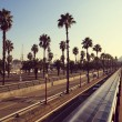 Boulevard promenda panorama in Barcelona — Stock Photo