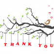 'Thank you' greeting card with bird — Imagen vectorial