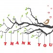 'Thank you' greeting card with bird - Stockvectorbeeld