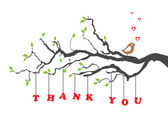 'Thank you' greeting card with bird — Stockvector