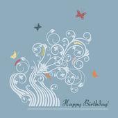 Cute floral happy birthday card — Stock Vector