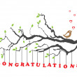Congratulations greeting card with bird — Stockvectorbeeld