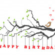 Happy birthday card with bird — Vector de stock #7603992