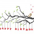 Happy birthday card with bird — Imagen vectorial