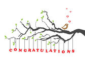 Congratulations greeting card with bird — 图库矢量图片