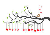 Happy birthday card with bird — Vector de stock
