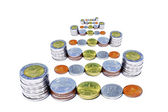 Coin stack on white bacground. — Stock Photo