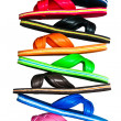 Stock Photo: Side view of flip flops with isolated on white