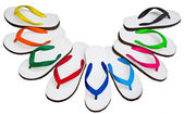 Flip Flops White and Mixed color — Stock Photo