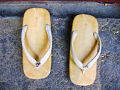 Sandal with a thick sole of wood — Foto de Stock