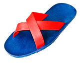 Flip-flops Red and Dark Blue isolated on white — 图库照片