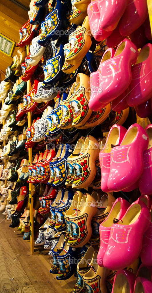 Lot's of The famous Dutch wooden shoes for sale in souvenir shop. Holland  Stock Photo #6917393