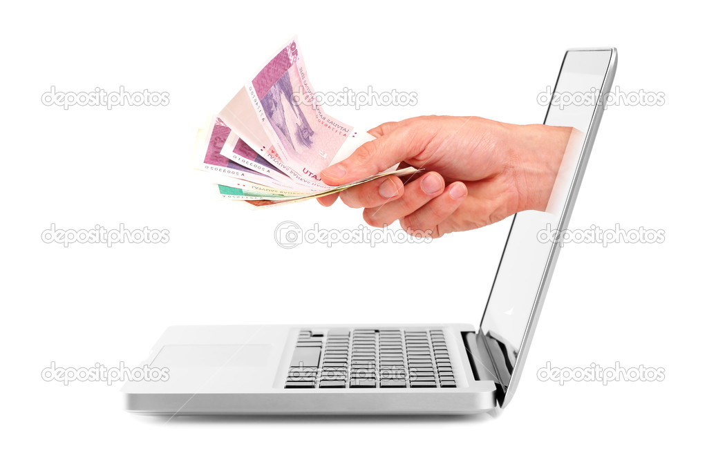 Hand with money out of laptop display — Stock Photo #7507214