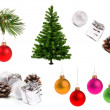 Variety of christmas decoration objects — Stock Photo