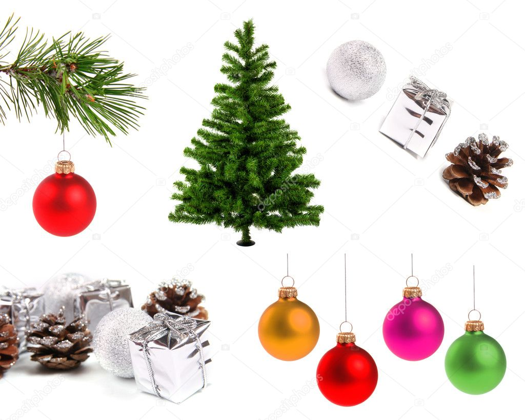 Variety of christmas decoration objects, isolated on white background — Stock Photo #7542178