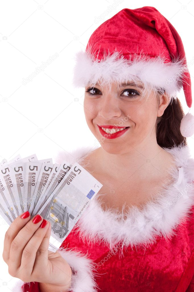 Santa Claus has notes in her hand — Stock Photo #6861466